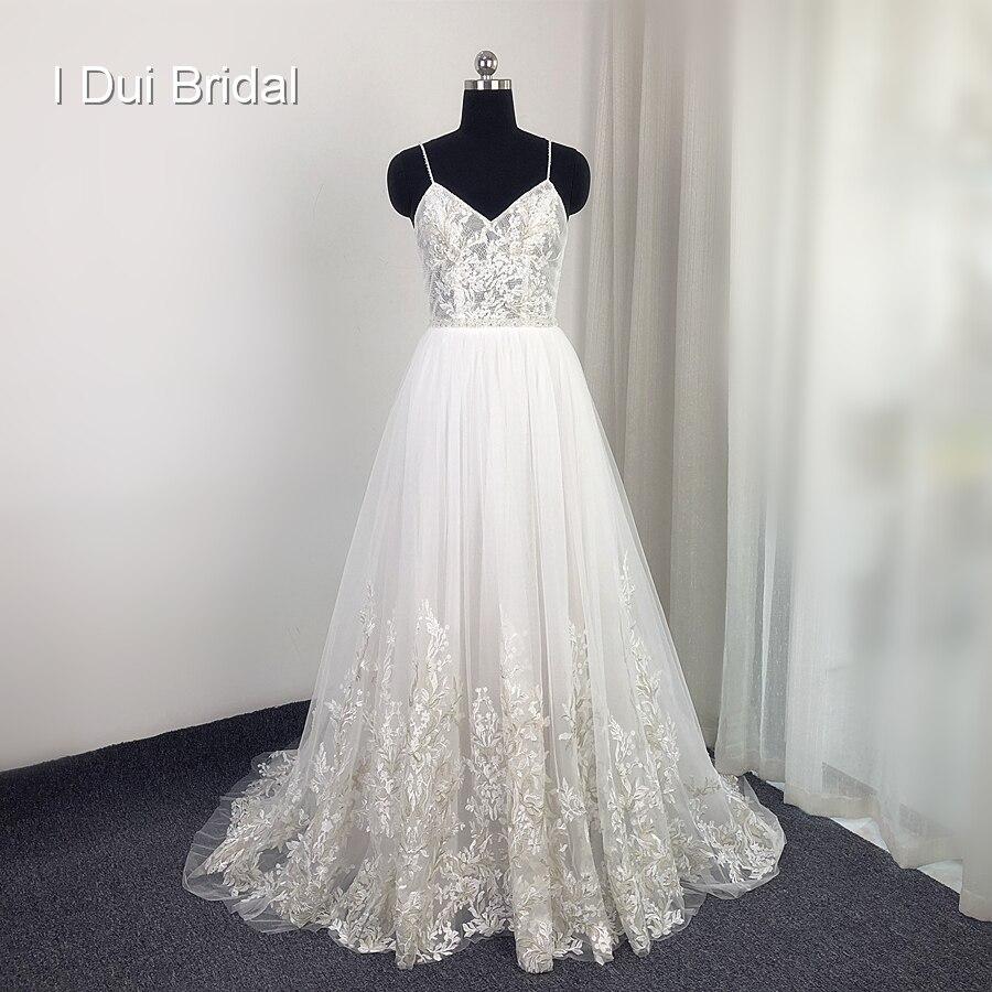 فستان زفاف من الدانتيل ، أحزمة سباغيتي ، جودة عالية ، نمط بوهو ، صور حقيقية ، عربة