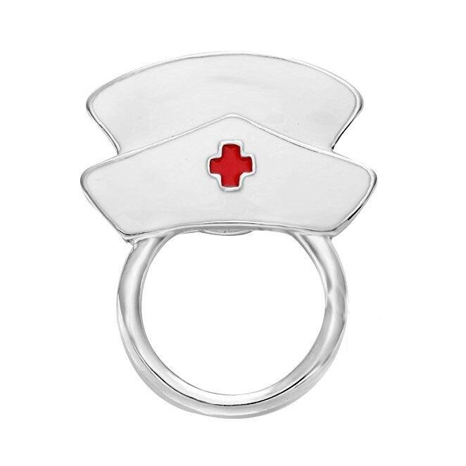 Moda de nova Adorável Bonito Esmalte Branco Enfermeira De Óculos Titular Suporte Magnético Pin de Segurança Para As Mulheres Novela Especiais Presentes Para Ela