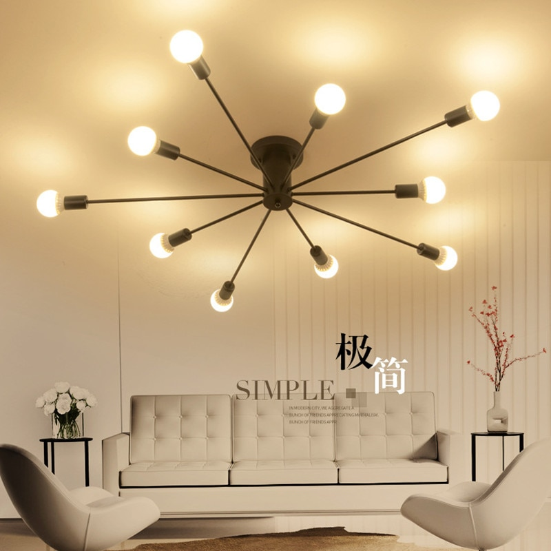 Personality Creative 8/10 Head Ceiling Light Retro Simple Wrought Iron E27 Ceiling Lamp For Restaurant Bar Cafe Warehouse Foyer  - buy with discount