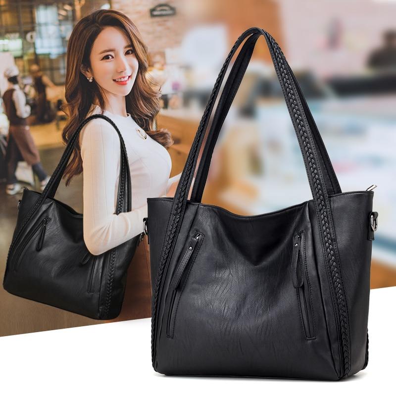 2020 brand high quality soft leather large pocket casual handbag women's handbag shoulder bag large capacity handbag