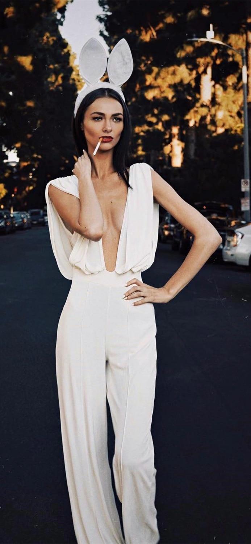 2019 New white v neck off shoulder sleeveless Bandage Jumpsuit Evening bodycon Celebrity Party Jumpsuits wholesale