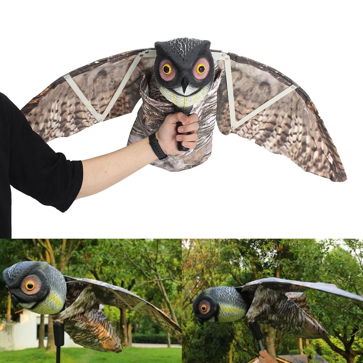 1pc Fake Prowler Owl With Moving Wing Bird Proof Repellent Garden Decoy Pest Scarer Sparrow Bird Con