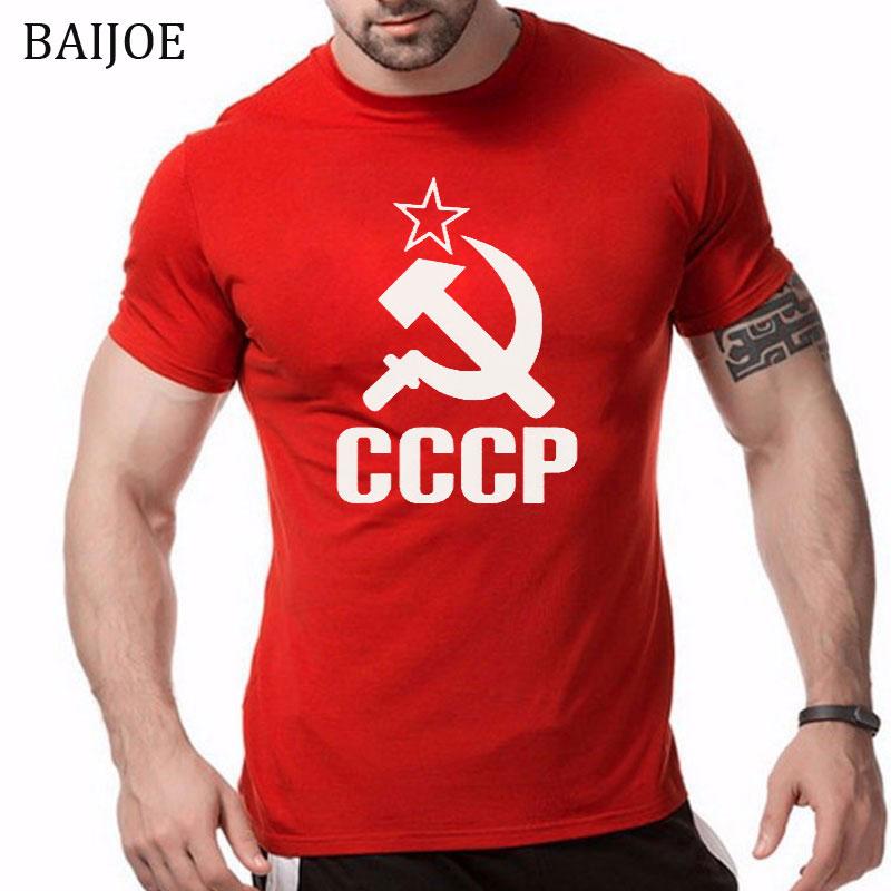 BAIJOE CCCP T Shirts Men USSR Soviet Union Man T-shirt Short Sleeve Moscow Russia Tees Cotton O Neck Tops plus size XS-XXL