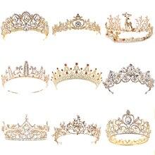 20 Style Vintage or mariage cheveux bijoux pour femmes perle cristal diadème couronne princesse reine mariée cheveux bijoux Pageant bal