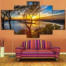 포스터 Tableau 벽 아트 홈 인테리어 현대 5 패널 아름다운 일출 자연 풍경 HD 인쇄 그림 모듈화 그림 캔버스