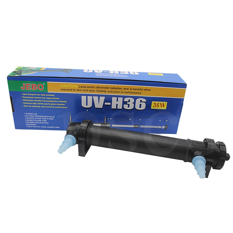 Jebo UV-H36W uvc lâmpada esterilizadora uv de 36w, filtro clarificador ultravioleta, limpador de água para aquário, lago, cabo koi tanque do tanque