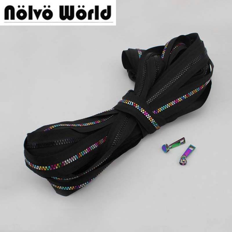 Cremallera de dientes de plástico de resina de 10 yardas 5 #, cremalleras de plástico de tela negra No5 arcoiris iridiscente para bolsos de cuero DIY, costura de ropa