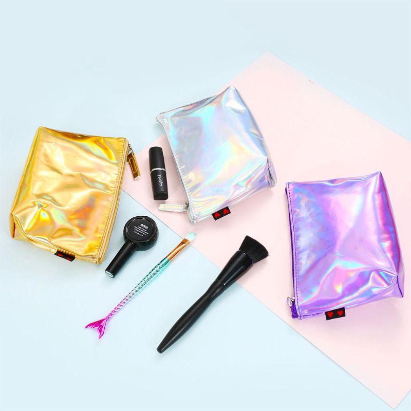 Bolsa de maquillaje holográfica a la moda para mujer, bolsa de lápiz con cierre, bolsa, bolso, cosméticos, bolsas láser para mujer 2018