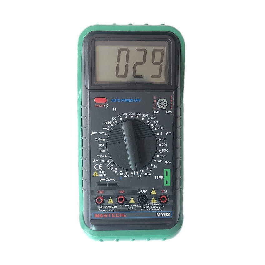 Mastech my62 multímetro digital handheld dmm com capacitância de temperatura & testadores de teste hfe medidores amperímetro multitester megohmmeter