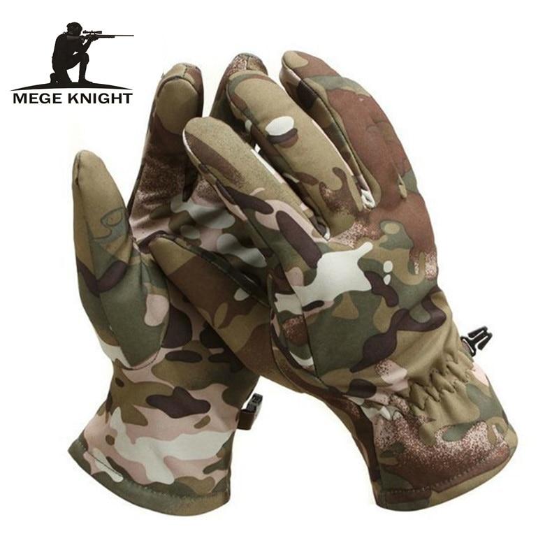 Тактические камуфляжные перчатки MEGE из мягкой кожи акулы, зимние теплые водонепроницаемые ветрозащитные флисовые перчатки унисекс