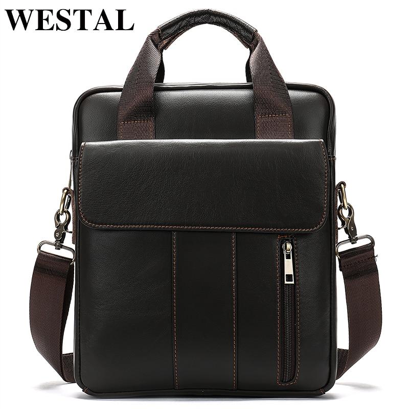 Sacos dos homens bolsa de couro genuíno verticais dos homens WESTAL shoulderbusiness saco laptop tote bag crossbody ombro para os homens 8567