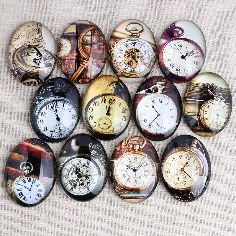 onwear mixed vintage pocket watch photo oval glass cabochon 18x25mm 30x4mm diy flat back handmade je