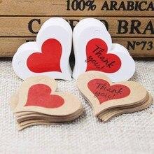 Étiquette de remerciement en forme de cœur   Étiquette suspendue en papier blanc/kraft rouge, étiquette en forme de cœur pour cadeau, étiquette de suspension pour mariage/gâteau/boulangerie merci, 200 pièces