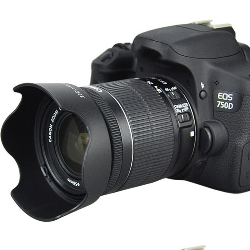 58mm lente de la Cámara capucha para Canon 80D 100D 200D 700D 750D 760D 18-55mm cámara fotográfica DSLR Accesorios