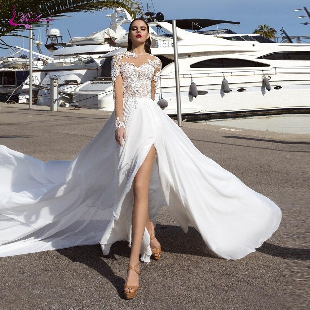 Review Waulizane Scoop Neckline Chiffon A Line Wedding Dress With Side Cut Skirt