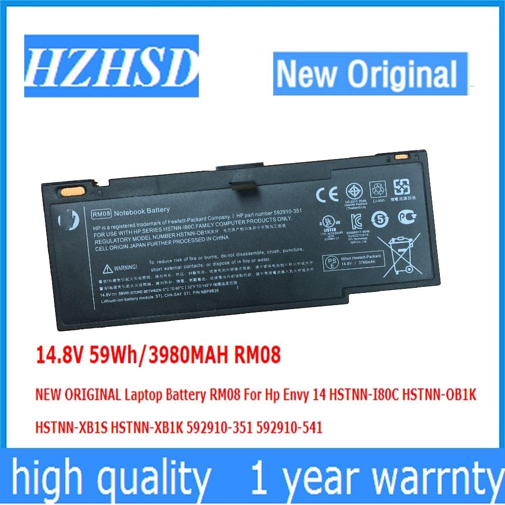 14.8V 59Wh/3980MAH RM08 جديد الأصلي بطارية كمبيوتر محمول RM08 ل Hp الحسد 14 HSTNN-I80C HSTNN-OB1K HSTNN-XB1S HSTNN-XB1K 592910-351