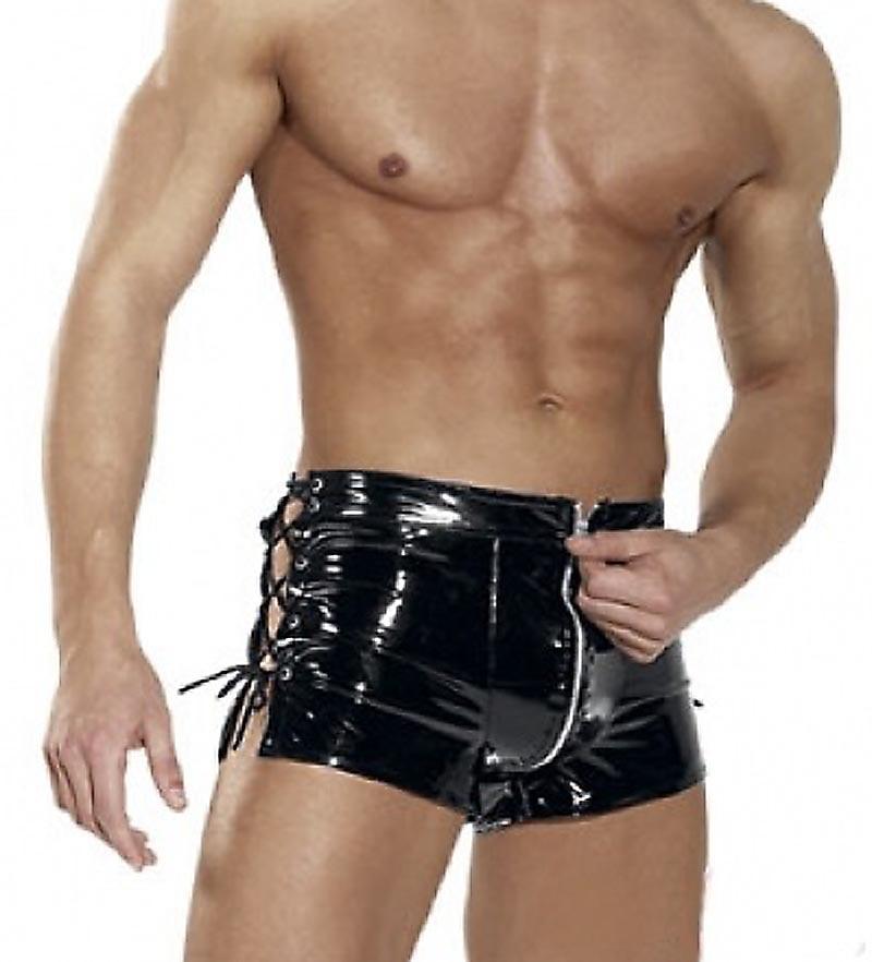 Men Sexy Wet Look PVC Vinyl Patent Leather Shiny Boxer Brief Lace Up Side Fetish Shorts Hot Pants Underwear Lingerie Outfit 2XL