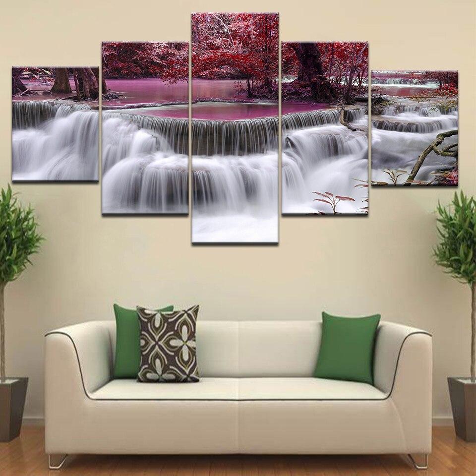 5 paneles de cuadro sobre lienzo moderno para pared de maderas Rojas, cascadas, impresiones en lienzo, pinturas, póster para decoración de pared y hogar
