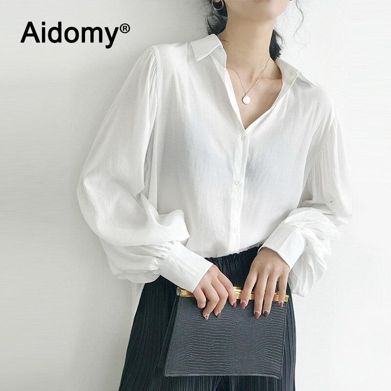 Negro Blanco azul blusa mujer de manga larga aire camisa holgada Casual Oficina señoras Tops botones delanteros Turn Down Collar camisas