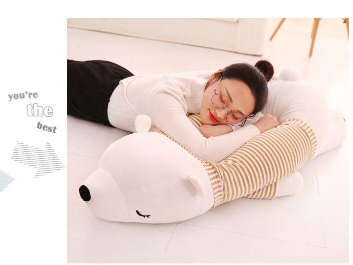 Огромный 110 см белый полярный медведь плюшевая игрушка мягкая подушка для сна подарок на день рождения b0480