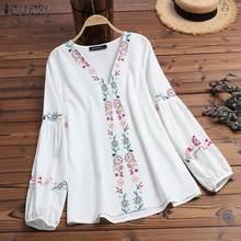 ZANZEA 2020 Autumn Women's Blouse Ladies Chic Work Shirts Casual V Neck Floral Print Blusas Elegant Female Tunic Tops Plus Size