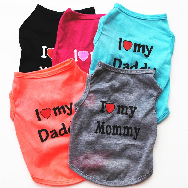 Pet Dog Cloths Spring/Summer Vest T-Shirt Letter I LOVE MY MOMMY Daddy Shirt Clothes For Small Puppy Dogs Cats