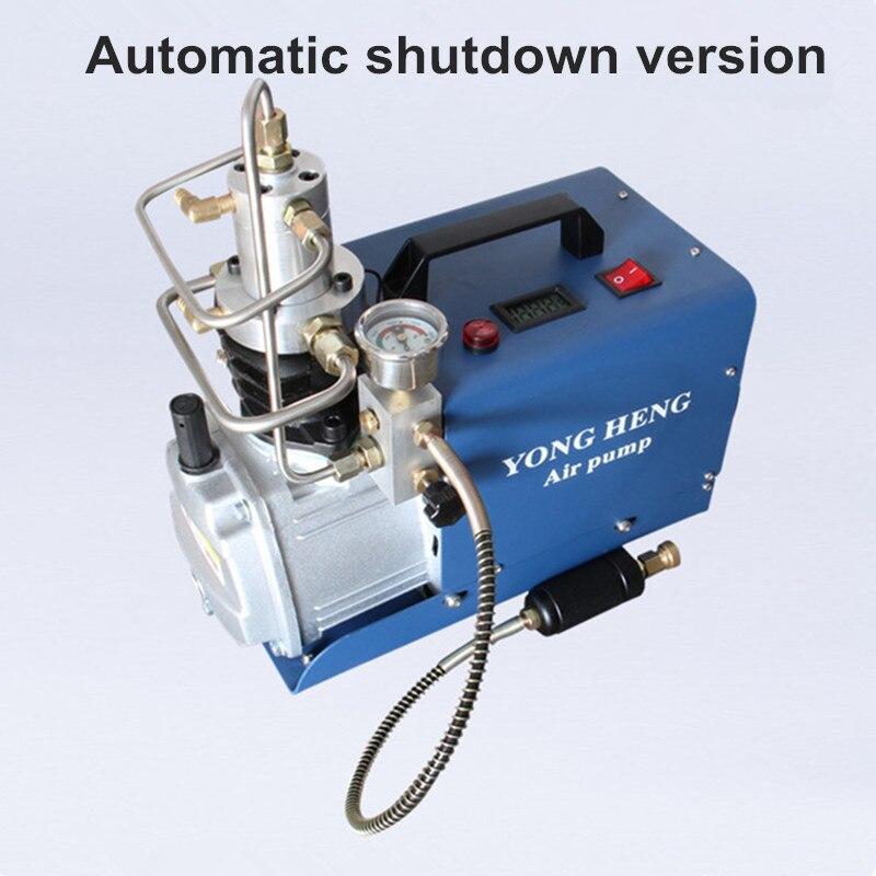 Compresor de aire de parada automática 30 MPA 4500 PSI 300Bar 220 V bomba de aire de rellenado de Rifle PCP de alta presión eléctrica de agua de refrigeración de aire comprimido