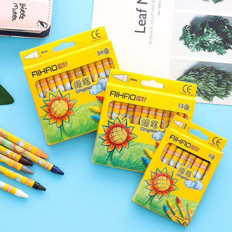 8/12/24 Colors Non-Toxic wax Crayon Creative Graffiti Kawaii Pens For Kids Painting Drawing Art Supply School Office Supply
