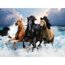 "New Europe Style 5D DIY Diamond Painting ""Three Horse Run On The Waves"" Full Diamond Handmade Gift Diamond Embroidery Decor GT"