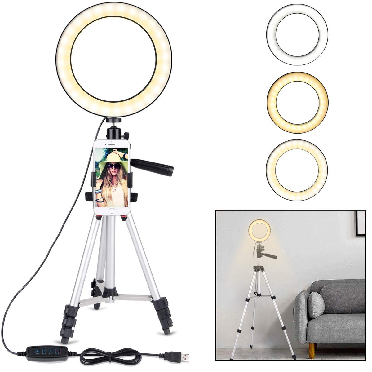 Anillo de luz de Selfie portátil con soporte de trípode para transmisión en vivo-Anillo de luz LED con soporte de teléfono para iPhone Samsung YouTube