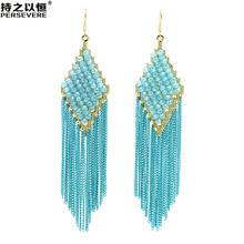 Hot Trend Crystal Beaded Rhombus dangle Long Chain Tassel Earrings For Women ladies bohemian Handmade fashion jewelry 2020