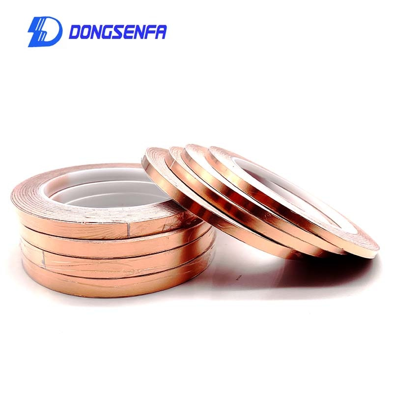 DONGSENFA 20 Meters Single Side Conductive Copper Foil Tape Strip Adhesive EMI Shielding Heat Resist Tape 5mm 6mm 8mm 10mm