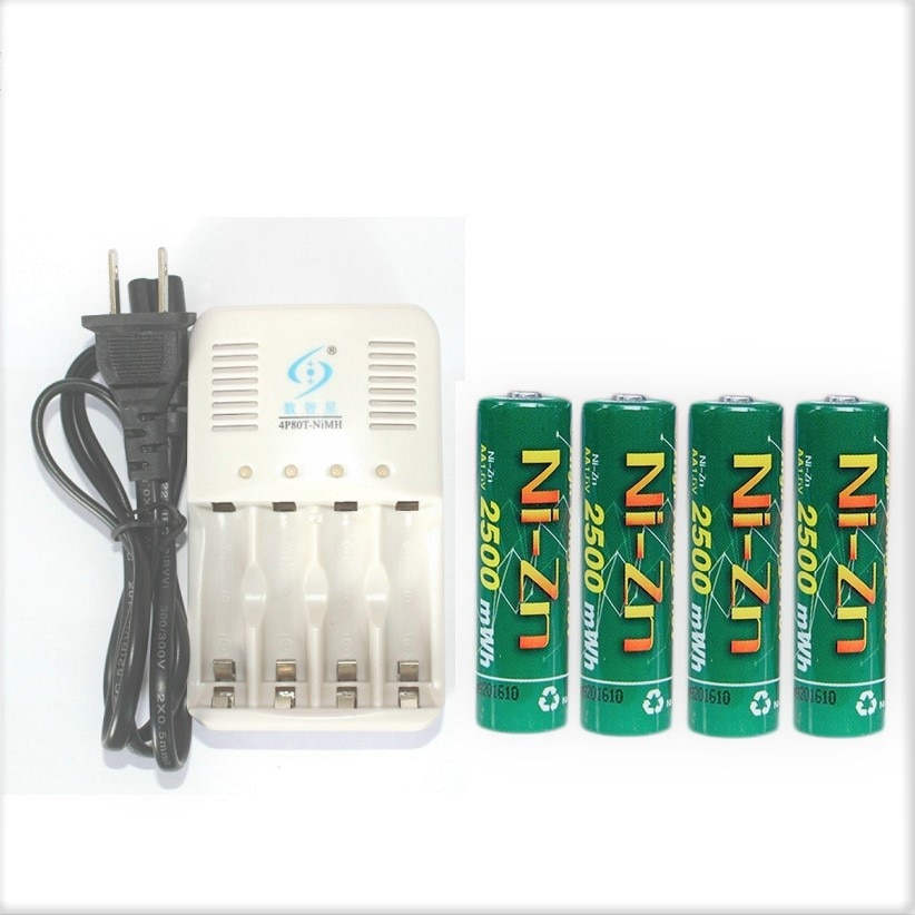 4 Uds NiZn ni-zn 1,5 V 1,6 V AA 2500mWh batería recargable + cargador inteligente NiZn