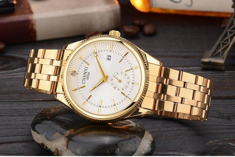 Chenxi złoty zegarek męskie zegarki top marka luksusowe znani zegarek męskie złoty zegarek kwarcowy kalendarz zegar relogio masculino 5