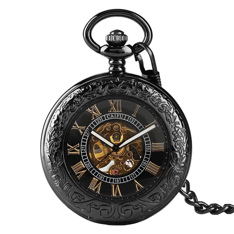 Relojes mecánicos de vidrio transparente con huecos, Relojes de bolsillo Steampunk con tapa para hombre y mujer
