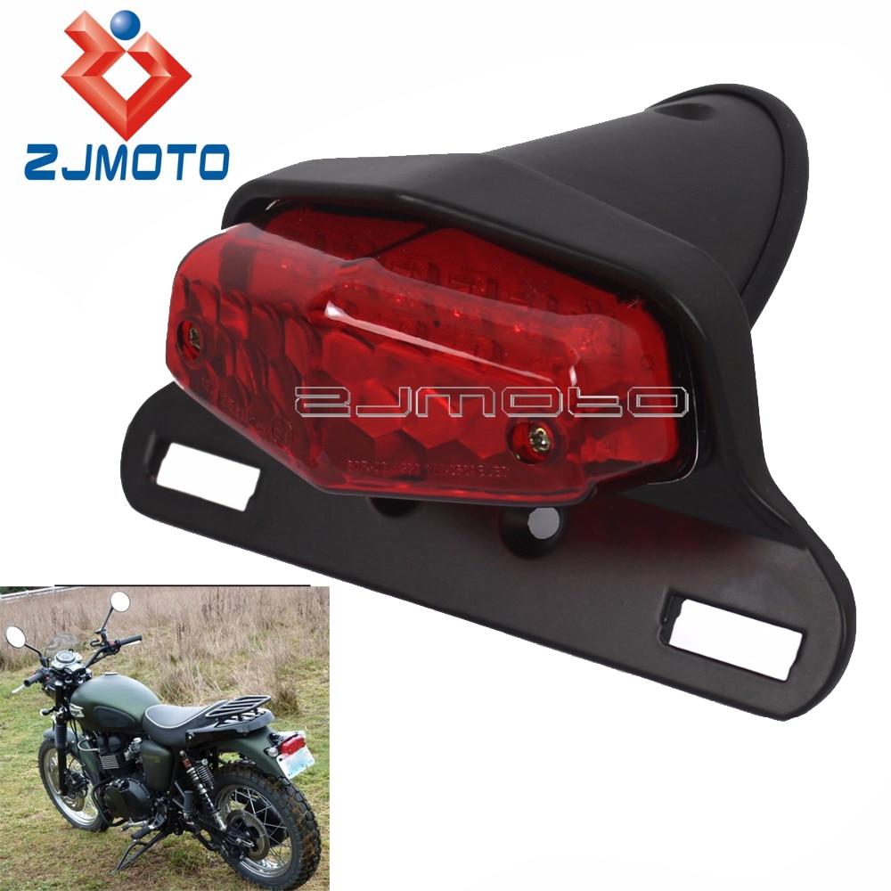 Black LED Rear Light Motorcycle Lucas Tail Light For Triumph Bonneville BSA Norton Scrambler Stop Light w/ License Plate Light