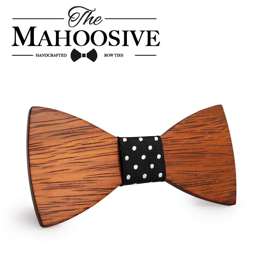 Mahoosive Gravata Plaid Wood Wooden Bow Tie For Man Wedding Butterfly Design Necktie for Wedding Groom