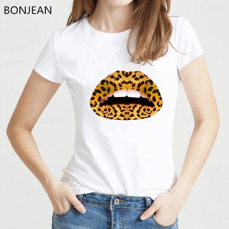 Gay Love Lesbian Sexy Leopard Lips print t shirt women clothes 2019 summer tops female t-shirt white vogue funny tshirt femme