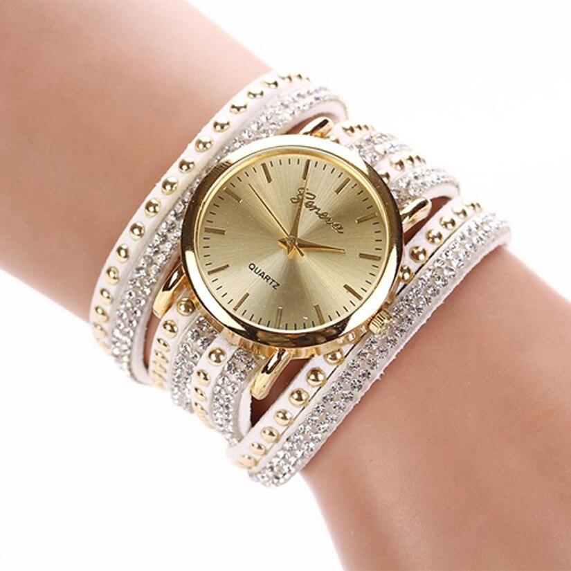 YAZOLE reloj la mujer reloj de pulsera de señora de cristal de reloj de cuarzo de Corea remache de cristal pulsera traje joya horas relojes de mujer