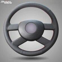 Housse de volant en cuir noir brillante, cousue à la main, pour Volkswagen VW Polo (2003-2006)