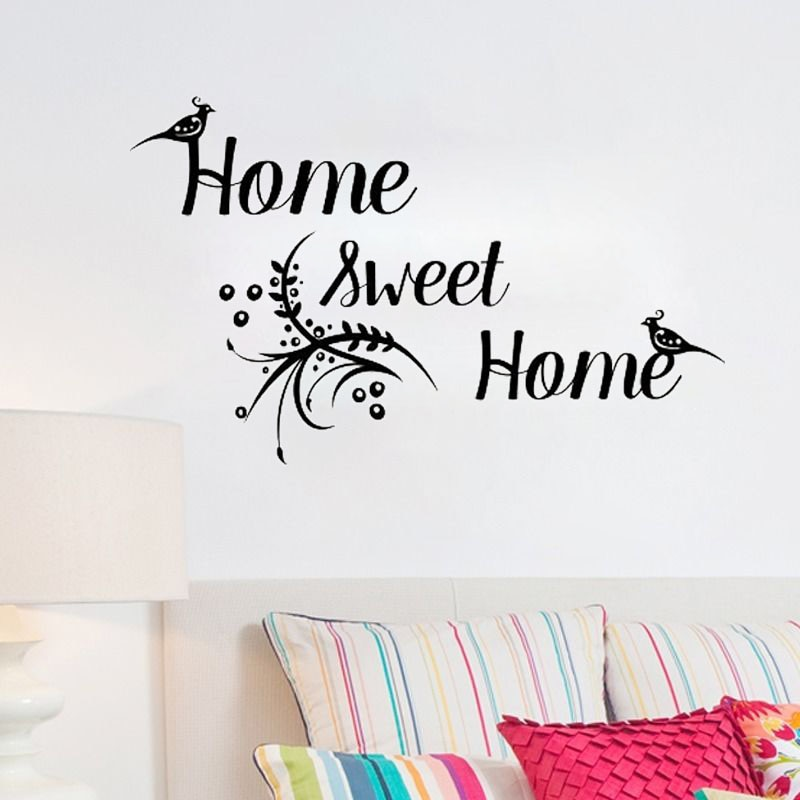 Pegatinas de pared de palabras ZOOYOO Home Sweet Home, calcomanía de flor de vinilo para pájaros, murales de arte extraíbles, decoración para el dormitorio y la sala de estar