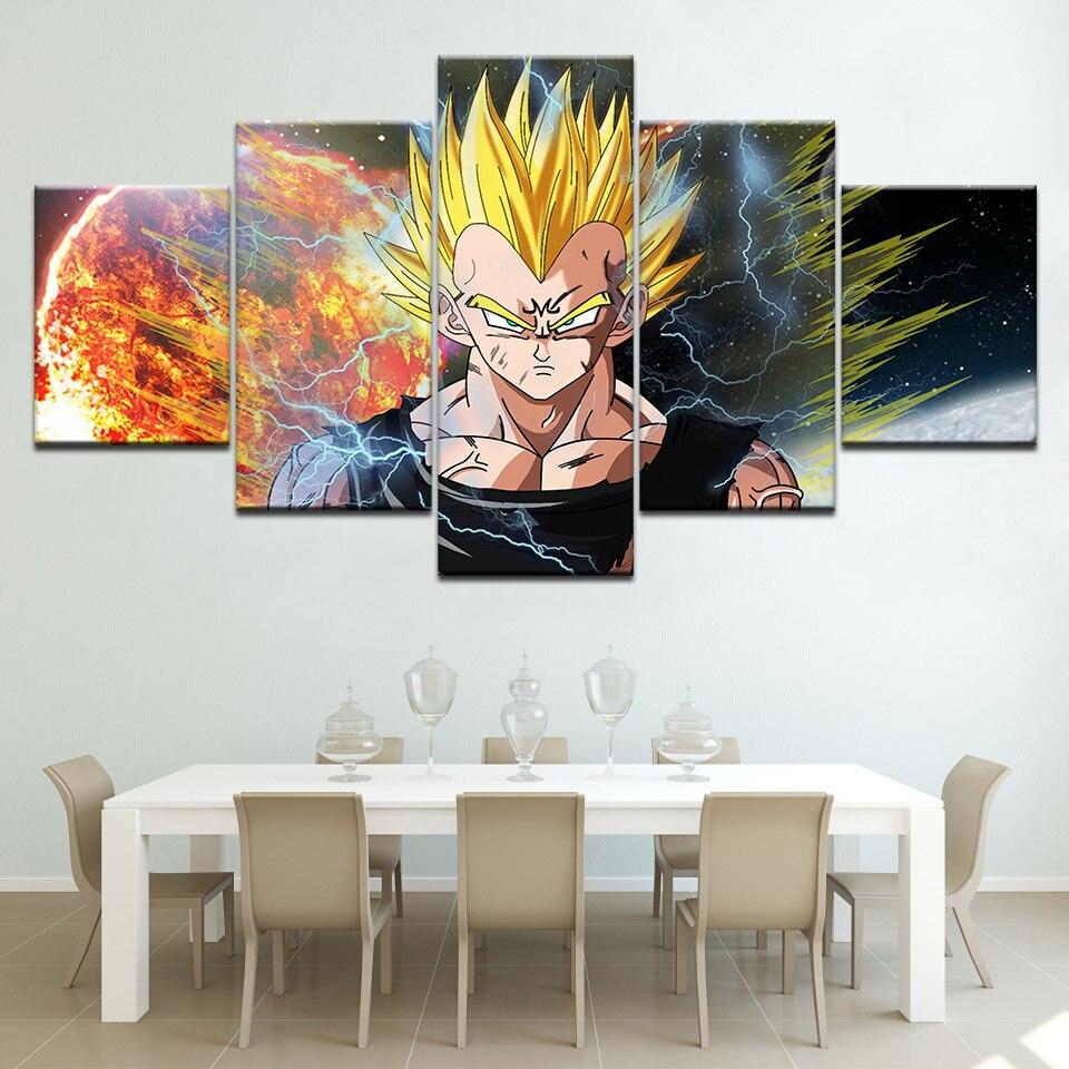 Póster de Super Goku de Dragon Ball Z en HD, lucha de Anime japonés, pinturas en lienzo de 5 piezas, Marco artístico de gran tamaño