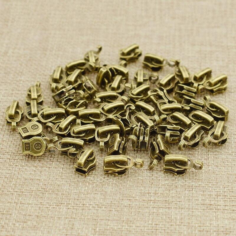 50 Uds 3 # Metal cremallera de cabeza deslizante equipaje cremallera reparación DIY costura accesorios prendas herramientas de sastre