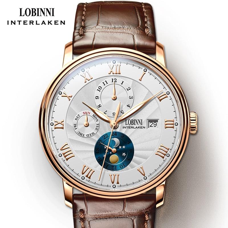 جديد LOBINNI سويسرا الرجال الساعات الفاخرة العلامة التجارية المعصم النورس التلقائي الميكانيكية ساعة الياقوت القمر المرحلة L1023B-5
