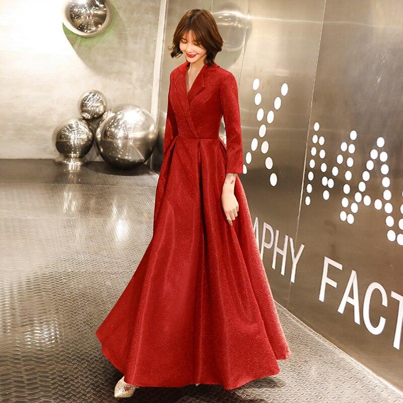 Robe De Soiree Evening Dress 2020 Burgundy V Neck Long Sleeve Formal Party Evening dresses Gown Long vestido de festa LYFY138