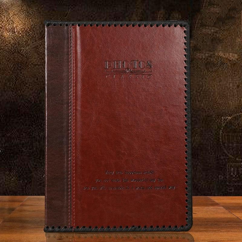 Retro high-grade leather photo album DIY insert type 6 inch 200 albums handmade PU leather craft scrapbook to send wedding gifts