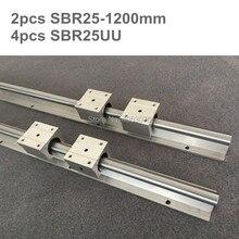 Barre de guidage linéaire 2 pièces   support darbre de rail linéaire et 4 pièces blocs de roulement linéaire SBR25UU pour pièces à 4 pièces