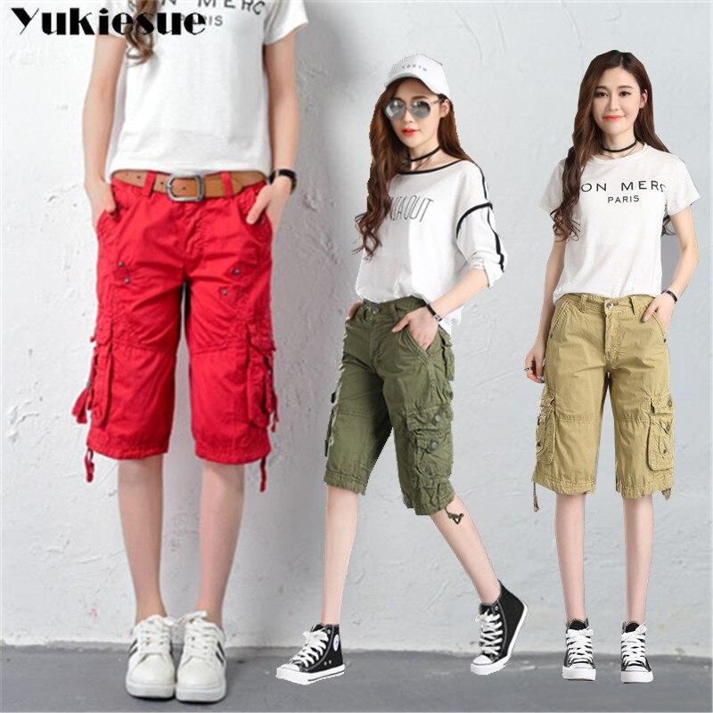 Women High Waist Blue Cargo Pants capri Fashion Loose Pockets Pants Womens Streetwear Patchwork Penc