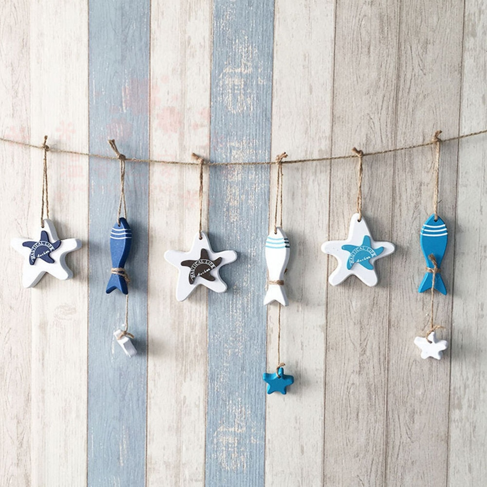 Mittelmeer Starfish Hing Fisch Nautischen Dekor Hängen Holz Fisch/Dekoriert Kleine Schmücken Handwerk Marine Anhänger Für Kinderzimmer Hot