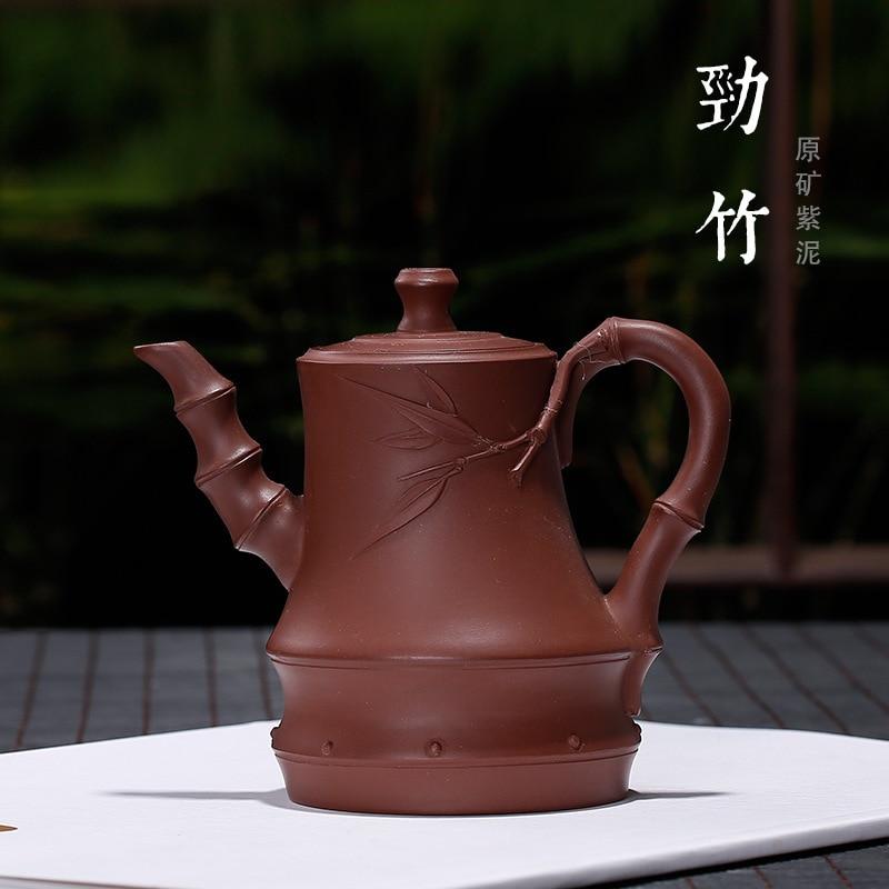 Yixing-وعاء من الخيزران ، شكل خاص ، عقدة ، إبريق شاي إلكتروني ، طين أرجواني ، أوراق الخيزران ، عامل واحد